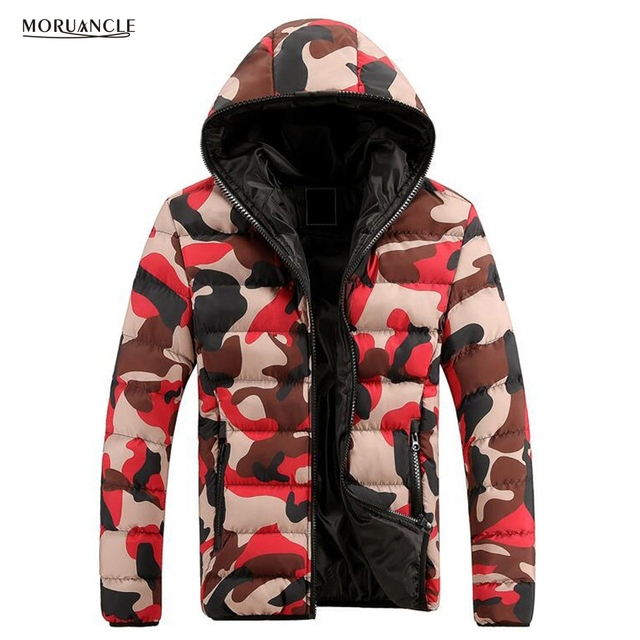 0e8b5ab0e8680 MORUANCLE 2017 Winter Men s Warm Camouflage Jackets Hooded Thick Camo Coats  For Male Cotton Lined Full Zipper Size M-XXXL