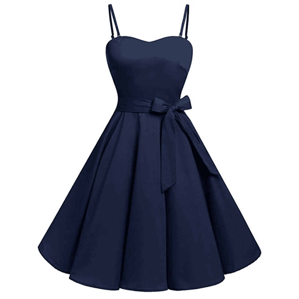 Joineles Plus Size Navy Blue 4XL Women Summer Vintage Dress Sleeveless Belt Strap Dress Pin Up Retro Swing Vestidos Party Dress