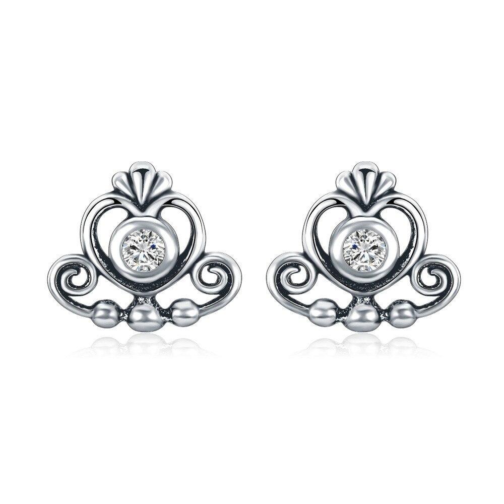 Hot Sale Silver Color My Princess Tiara, Clear CZ Heart Crown Stud Earrings for Women Wedding Pandora Earrings Fine Jewelry
