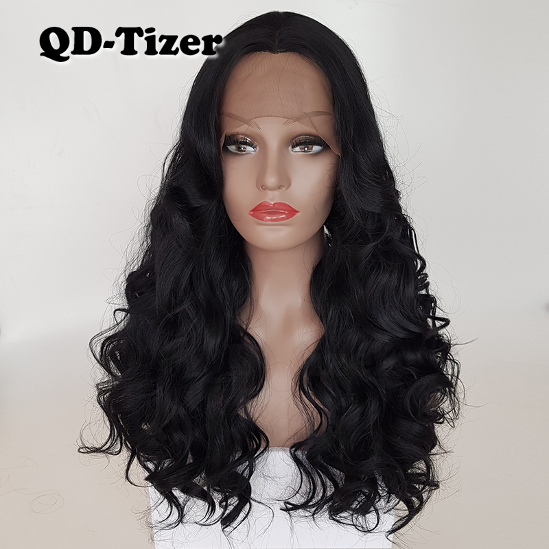 QD Tizer Body Wave Black Color with Bangs Lace Wigs Glueless Big Wavy Heat Resistant Synthetic