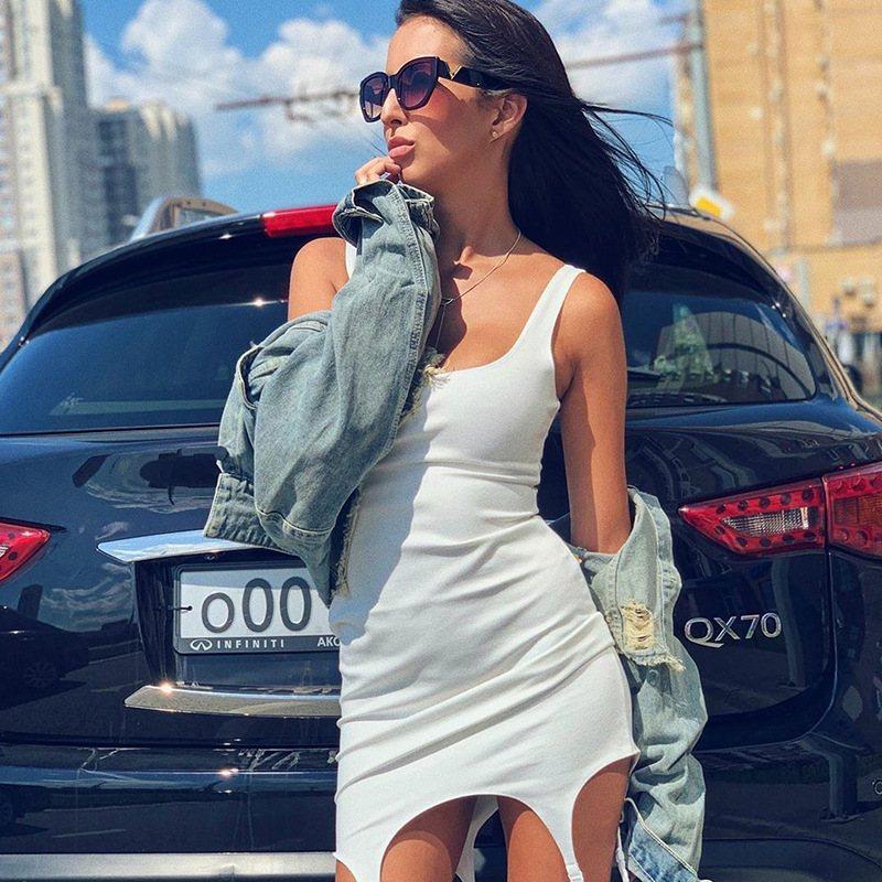 Cryptographic Solid Casual Sexy Backless Irregular Mini Tank Bodycon Dress Fashion Sleeveless Dresses Slim Streetwear Vestido in Dresses from Women 39 s Clothing