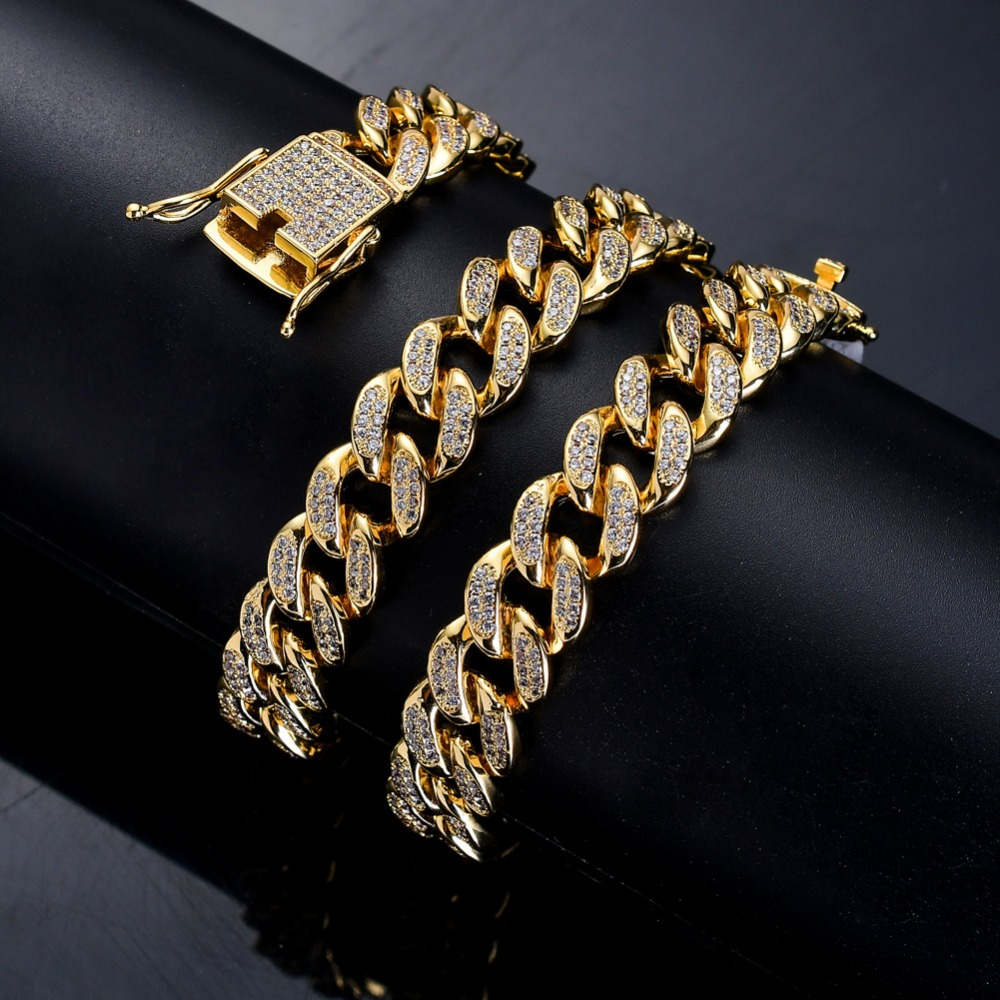 12mm Hip Hop Bling Iced Out Cuban Miami Link Chain Necklace Men AAA CZ Stone Chain Necklaces Rapper Jewelry Gold Silver Color 12mm Hip Hop Bling Iced Out Cuban Miami Link Chain Necklace Men AAA CZ Stone Chain Necklaces Rapper Jewelry Gold Silver Color