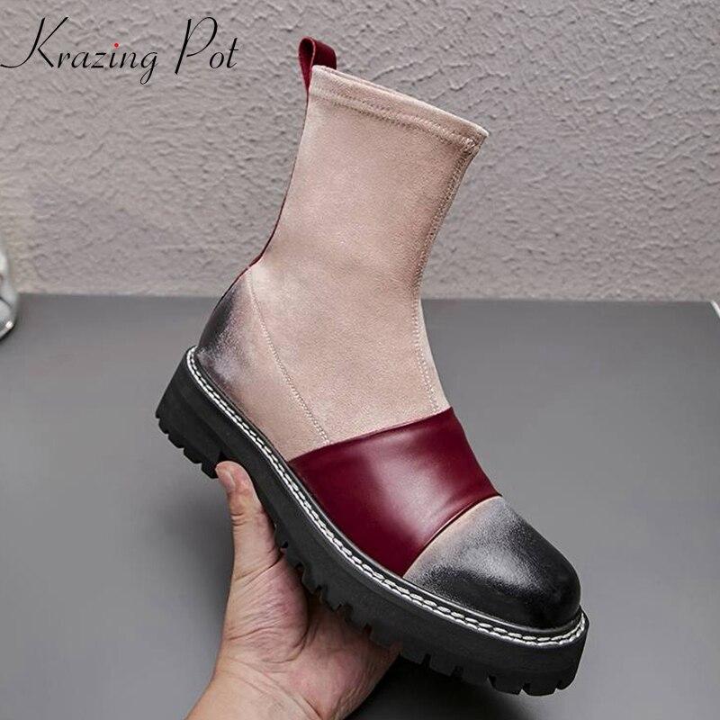 Krazing maceta cuero de vaca natural punta redonda tacones gruesos color mezclado occidental estilo preppy estiramiento stovepipe tobillo botas L96-in Botas hasta el tobillo from zapatos    1