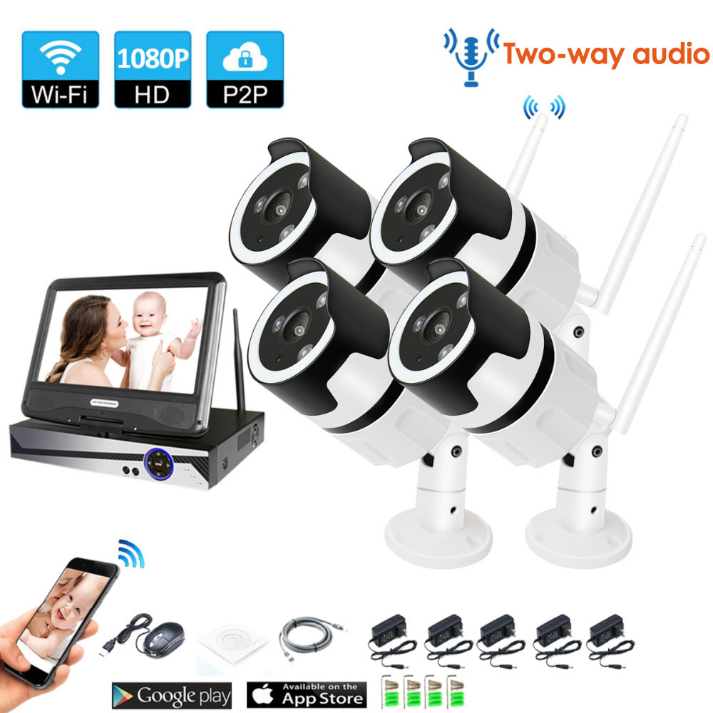 4CH audio talK HD Wireless LCDNVR Kit P2P 1080P Indoor Outdoor IR Night Vision Security 2.0MP IP Camera WIFI CCTV System