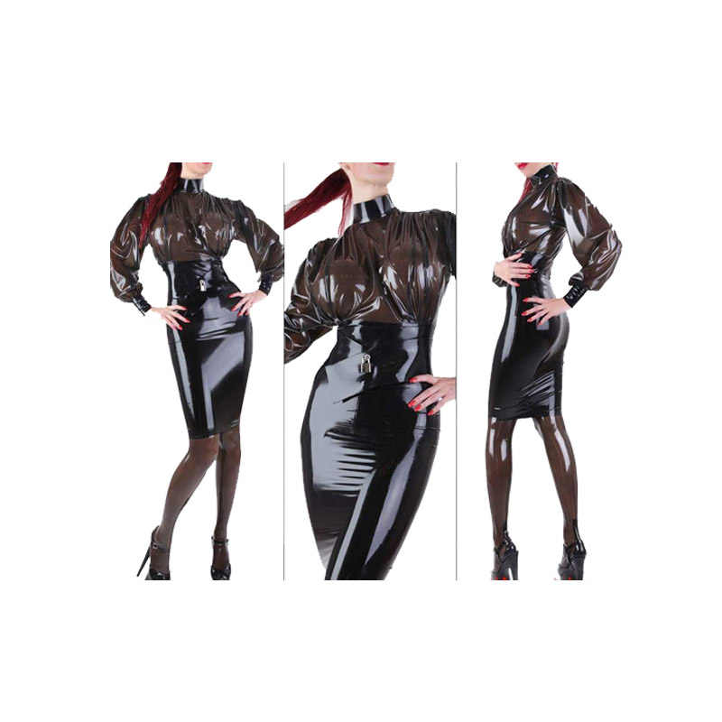 2019 Latex Skirt Black Transparent Black Long Sleeve Sexy Dress 0.4mm Size XXS-XXL