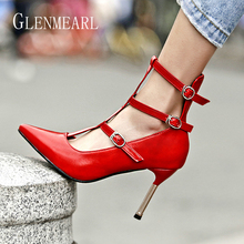 Brand Woman Pumps Summer Shoes High Heels Ankle Strap Gladiator Shoes Pointe Toe Sexy Women Wedding Shoes Buckle Red Plus Size siemo sexy women round toe high heels pumps platform cross strap ankle buckle stiletto wedding party dress shoes red size 4 15 5