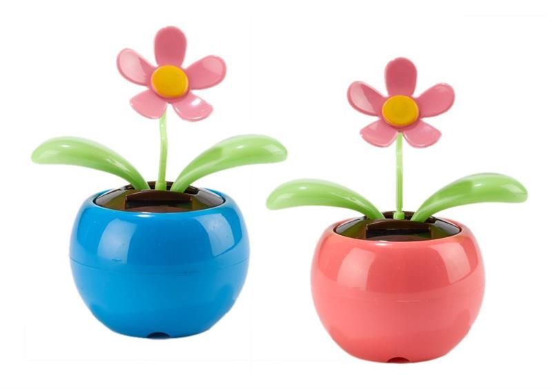 2 Set Happy Dancing Solar Flower Apple Blossom Swing Flower Pink And Blue Solar Toy Kids Gifts Home Car Decor Cute Cartoon Toys