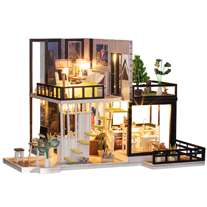 New Doll House Toy Miniature Wooden Doll House Loft With: Aliexpress.com : Buy Doll House Miniature DIY Dollhouse