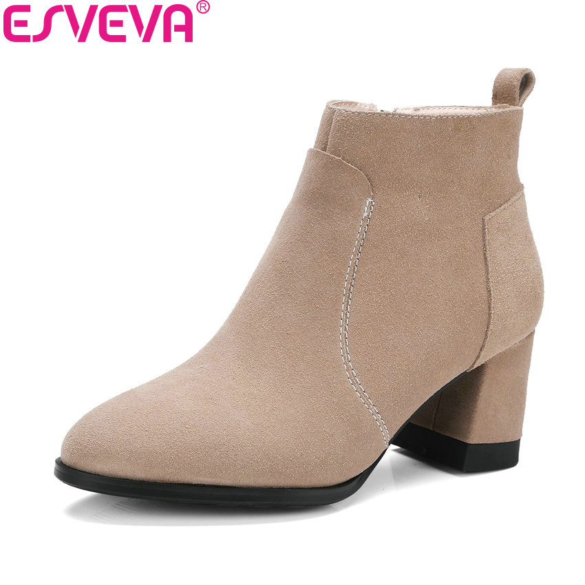 ESVEVA 2018 Sweet Style Women Boots Short Plush+PU Black Square High Heel Classical Round Toe Ankle Boots Lady Shoes Size 34-39 esveva 2018 women boots zippers black short plush pu lining pointed toe square high heels ankle boots ladies shoes size 34 39