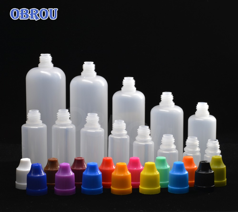 5PCS PE Bottles 2.5ml 3ml 5ml 10ml 15ml 20ml 30ml 50ml 60ml 100ml 120ml Squeezed PE Plastic Dropper Bottles With Childproof Cap