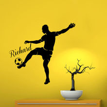 Free shiping diy Soccer Player Wall Sticker Home Decor For Kids Room Custom Boy Name Vinyl Decal Removable Wall Art Decoration 3d soccer player and goal wall art sticker decal