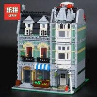 Лепин 15008 город Streetview здание игрушка Зеленый бакалейщик Модель Строительство Наборы блоки Кирпич совместимые 10185 детская игрушка в подарок