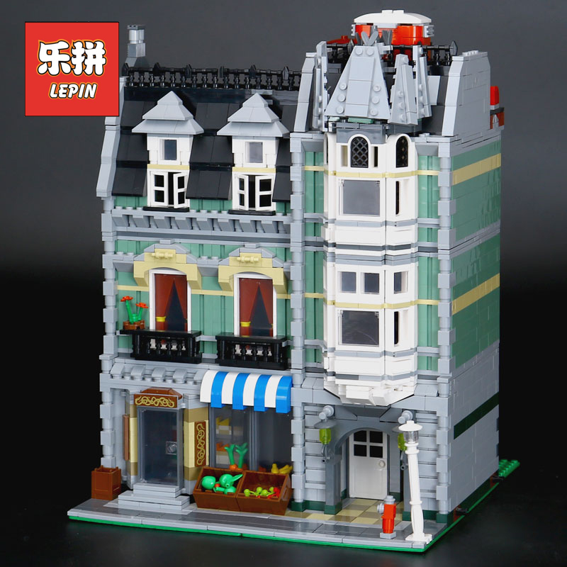 Lepin 15008 City Streetview Building Toy the Green Grocer Model Building Kits Blocks Bricks Compatible 10185 Children Toy Gift lepin 15008 new city street green grocer model building blocks bricks toy for child boy gift compatitive funny kit 10185 2462pcs