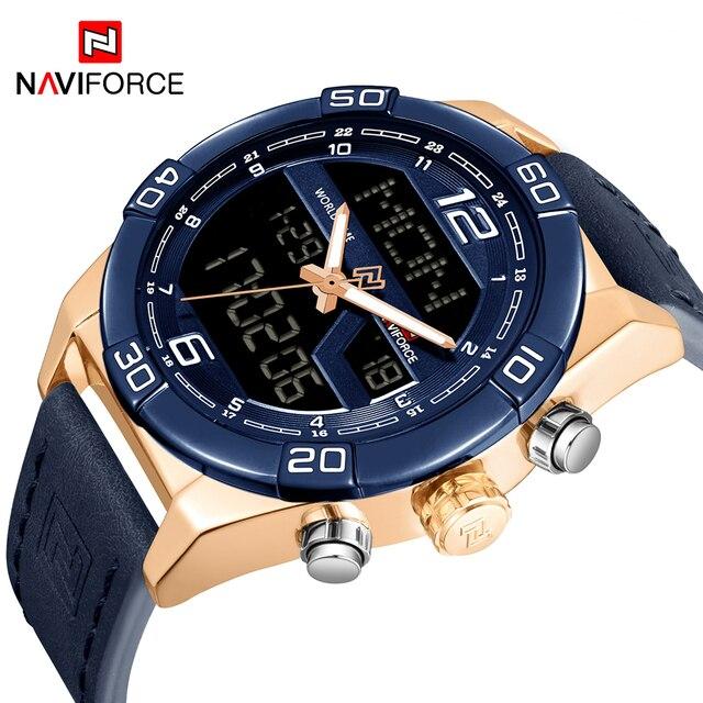 NAVIFORCE Mens Military Quartz Watch Fashion Sport Wristwatch LED Analog-Digital  Watches Men Leather Strap Relogio Masculino 18f052be9e