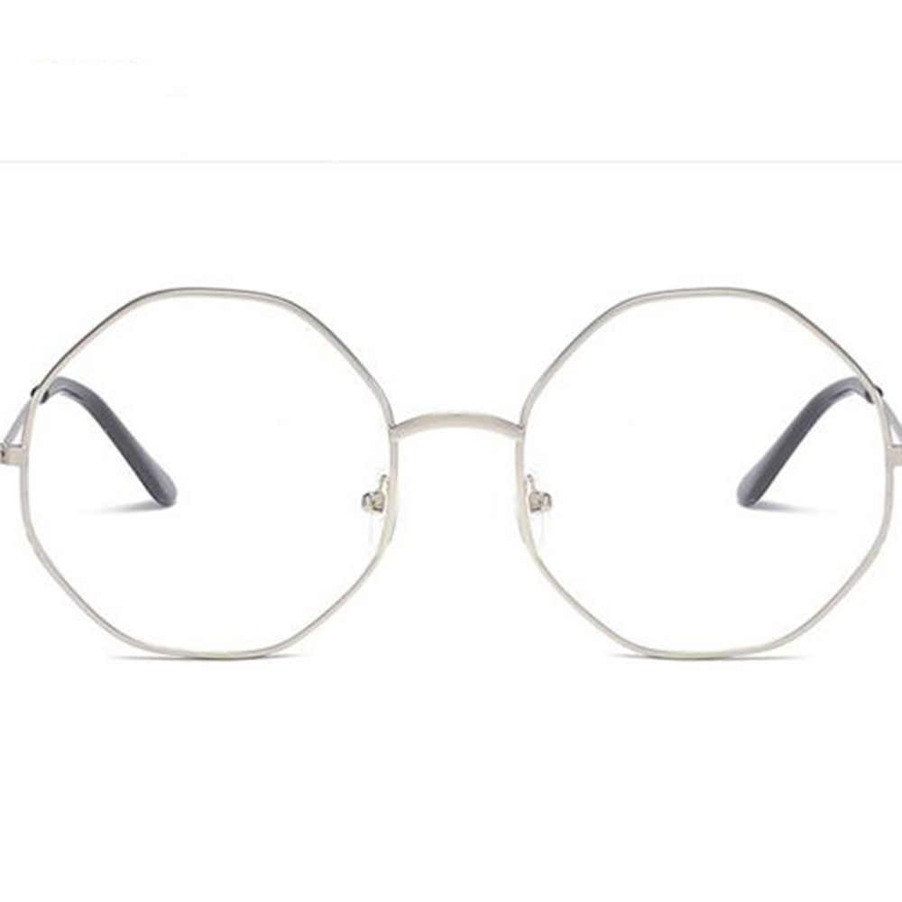 Fashion Tidak Teratur Wanita Pria Besar Besar Bingkai Logam Lensa Bulat Kacamata Optik Kacamata Kacamata untuk Wanita