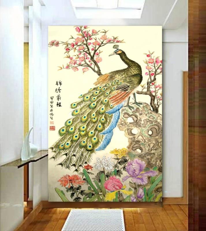 Hign Qualitychinese Paint Style 3d Papel De Parede Peacock Design
