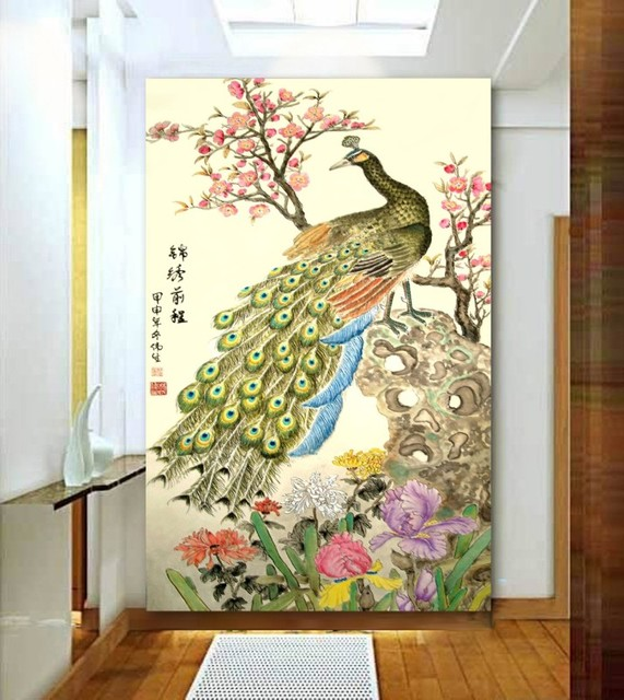 Chinese Paint Style 3d Papel De Parede Peacock Design Wallpaper Wall
