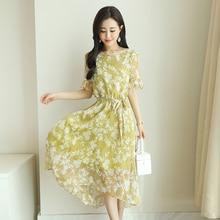 ФОТО 2018 autumn new style fashion elegant chiffon was thin flower fairy lotus leaf sleeve round neck dress temperament women s-xxl