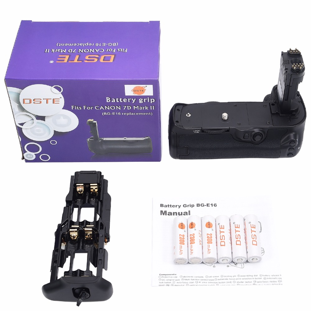 DSTE BG-E16 Battery Grip with 6pcs Rechargeable Batteries NI-MH AA Battery for Canon 7D MARK II DSLR Camera dste 3pcs sl 360 ni mh battery for spectralink pts360 9031 mdw9030p mdw9031 ptb400 ptb710 ptb810 ptb81650