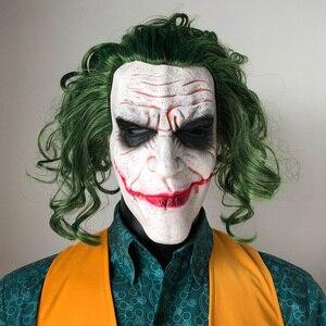 Image 3 - Máscara de Joker película Batman El Caballero Oscuro payaso de terror Cosplay máscaras de látex con Peluca de pelo verde Utilería de miedo disfraz de fiesta de Halloween