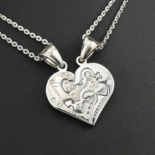 AMUMIU Couple love heart pendants necklace for lover inlaid rhinestone rose gold Color Stainless Steel HZP187