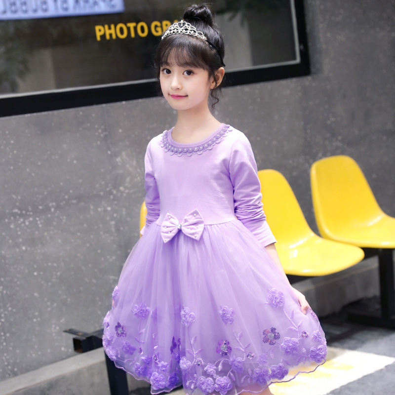 Girls Dress 2019 Fashion Flower Kids Dresses For Girls Clothes Long Sleeve Princess Dress 4 6 8 10 12 13 Years Girls Costumes in Dresses from Mother Kids