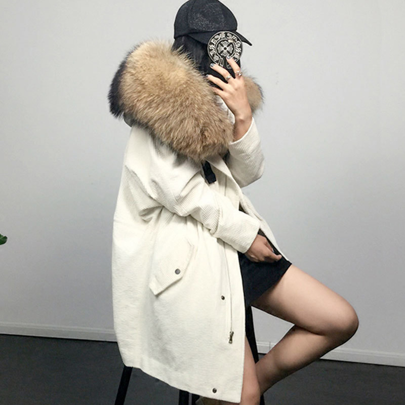 Women's winter coat warm 2017 Corduroy lamb Hair Wool liner genuine mink fur coat Parker long jacket Women Loose Snow coat
