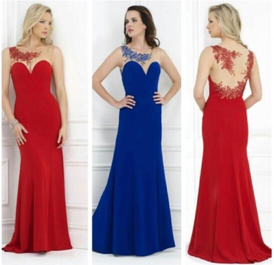 charming 2018 sexy illusion Royal Blue Beaded crystal chiffon sheer back vestido de festa party prom gown   bridesmaid     dresses