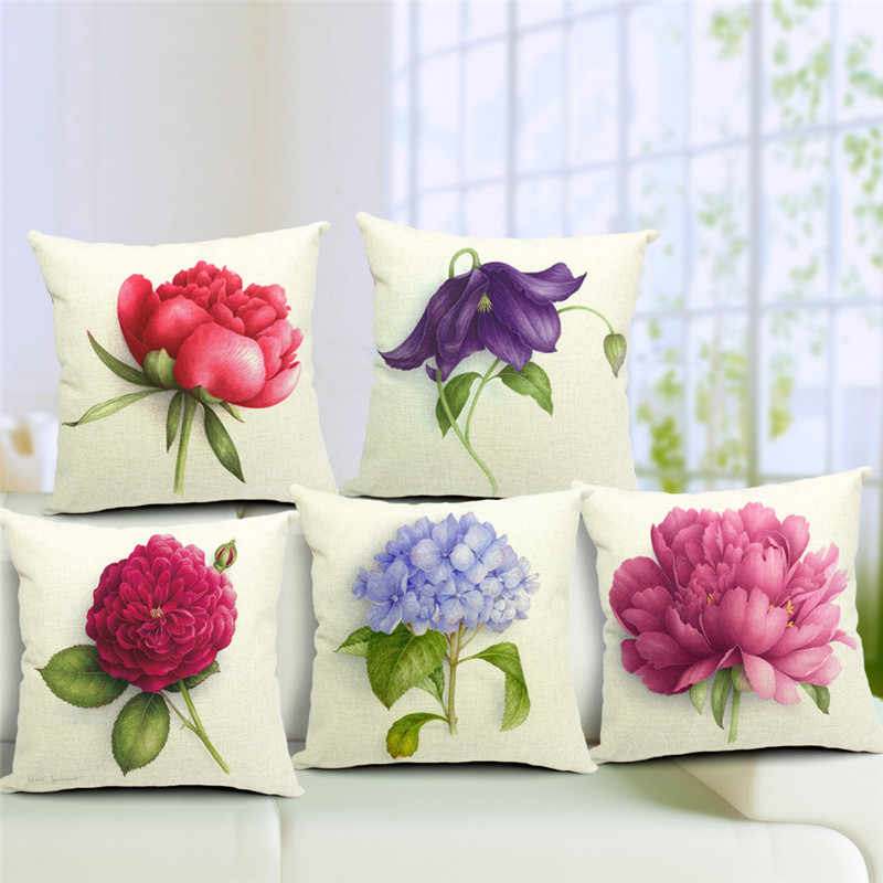 euro flower cushion cover big rose throw pillows colorful purple plant sofa char seat vigtage pillow cover decorative pillowcase