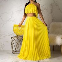 Summer Boho Sexy Club Travel Beach Women Two Piece Set Outfits Casual T Shirts Long Skirt Pleated Backless Ladies African Suits