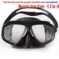 Prossional tauchen maske für kurzsichtig taucher und snorker optische linse taucherbrille gehärtetem glas myopie objektiv tauchmaske für erwachsene