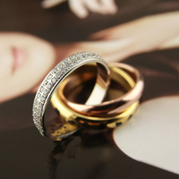 High Quality Titanium Steel Love Rings For Women Men Three Mix Color Leopard Full Stones Wedding