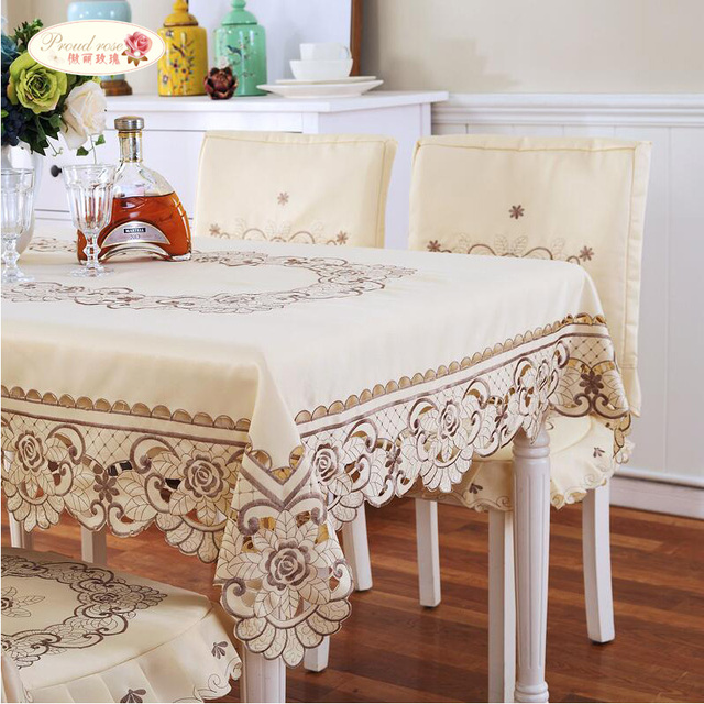 Proud Rose European Style Embroidered Round Table Cloth High Grade  Tablecloths Table Runner Modern Chair