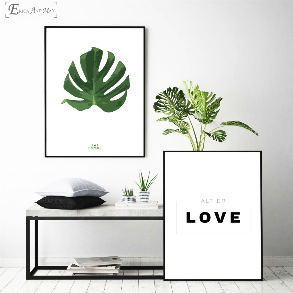 Love Tropical Plants Quote On Sale Poster Wall Painting Bedroom Abstract Canvas Art Pictures For Home Decor No Frame
