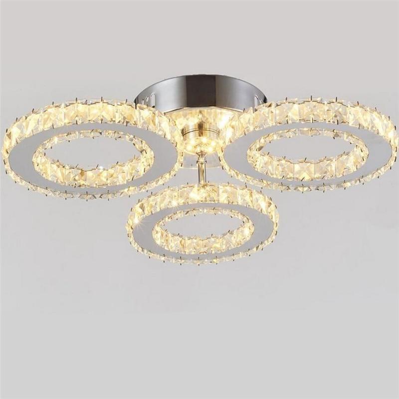 Moderne K9 Cristal LED Plafond Lumières En Acier Inoxydable 3 Anneaux Lustres Plafond Pour La Cuisine Salle À Manger Luminaire Luminaires