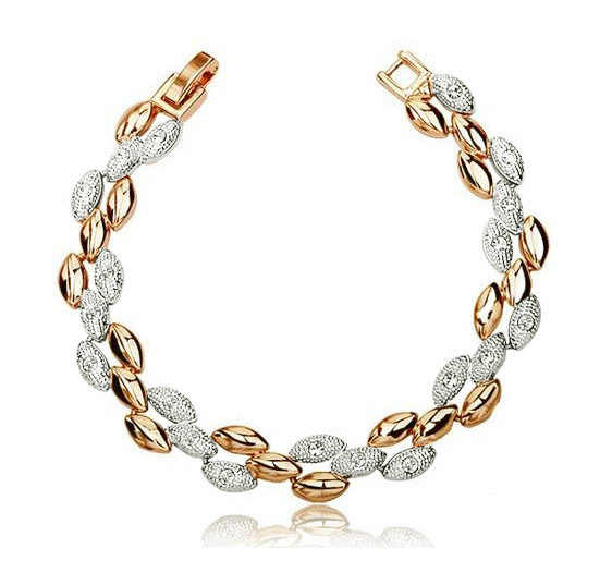 AAAA + rhinestones คุณภาพ Golden silver - 2 สีข้าวสาลี charms สร้อยข้อมือผู้หญิงแฟชั่นเครื่องประดับโปรโมชั่นจัดส่งฟรี