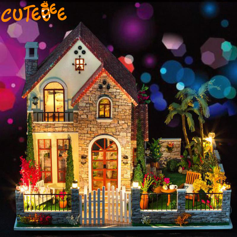 CUTEBEE Doll House Miniature DIY Dollhouse With Furnitures Wooden House  Toys For Children Birthday Gift  k007 cxhexin g9cx24 5630 g9 5w 3000k 400lm 24 5630 smd led warm white light bulb white ac 85 265v