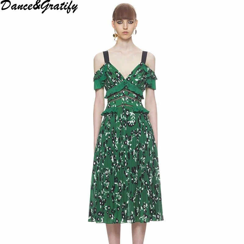 37b7385a65 Self Portrait Runway Dress 2018 Boho Clothing Women Sexy Cold Shoulder  Green Red Knee Length Floral Printed Backless Dresses