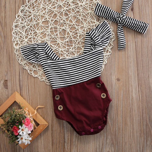 emmababy Newborn Kids Baby Girl  clothes striped sleeveless pacthwork Jumpsuit Bodysuit+Headband Clothes Outfits(China)