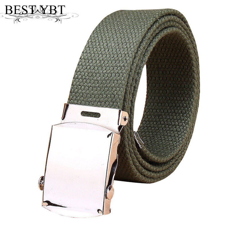 Best YBT Unisex Outdoor Canvas Belt Iron Automatic Buckle Belt  Military Tactics Casual Cowboy Pants Multi-color Men Women Belt