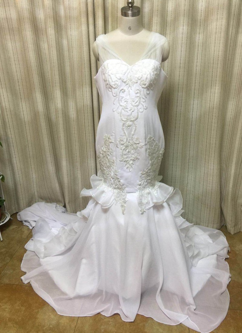 2019 Vestido De Noiva Off The Shoulder Mermaid Wedding Dresses Vintage Crystal Beaded Wedding Dresses Chiffon Bride Gown