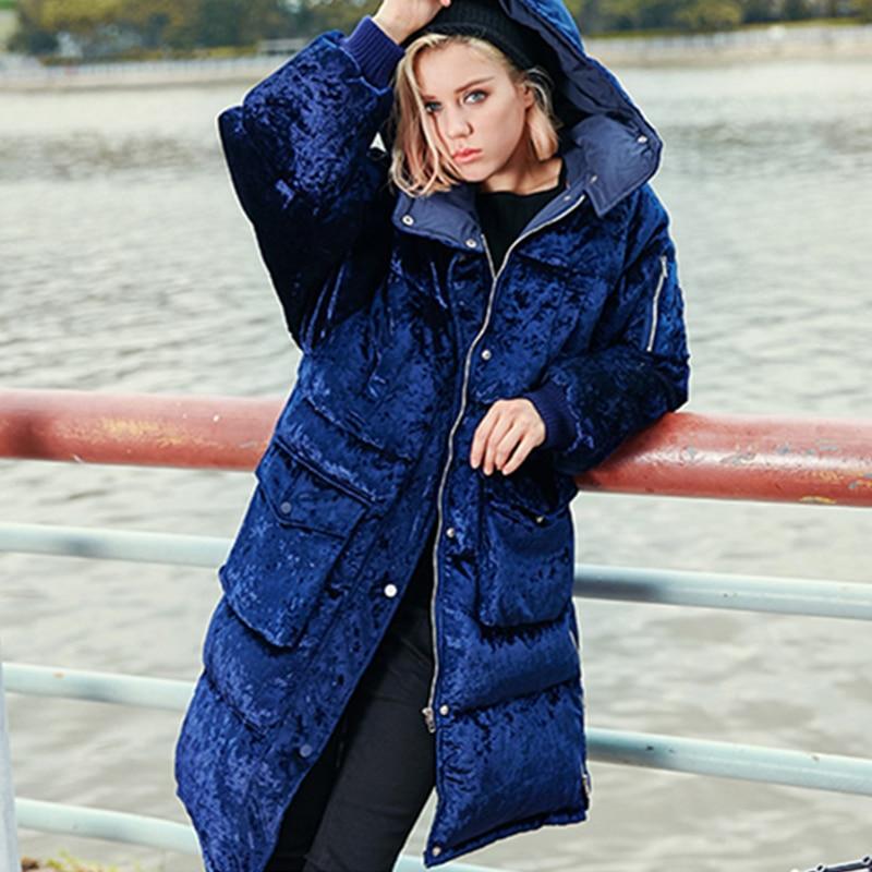 Nouveau Veste Jq582 Velours Lâche Épais Marine Bleu D'hiver Mode À Femme 2018 Haute Casual Parkas Le Manteau Femmes Navy Vers Blue Bas Qualité Chaud Capuchon BEwPx