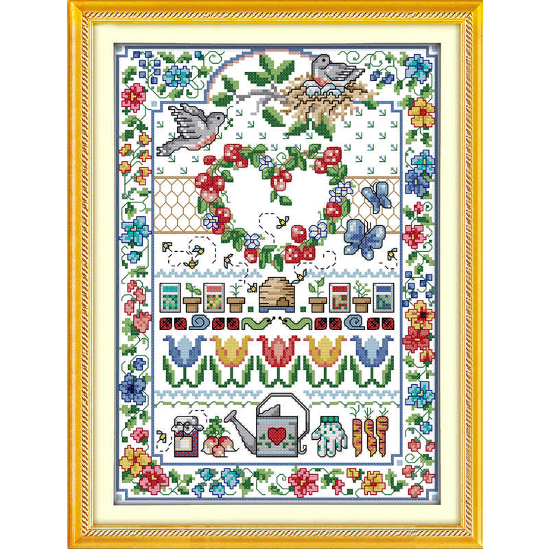 Joy Sunday Love Printed Canvas DMC Counted DIY Chinese Cross Stitch Kits printed Cross-stitch set Embroidery Needlework