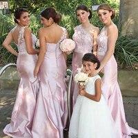 Розовый одно плечо Длинные платье подружки невесты в стиле русалки без рукавов аппликации свадебное платье для гостей Свадебная вечеринка