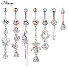 1pc New Zircon Fashion Surgical Stainless Steel Navel Piercing Flower Pendant Belly Button Rings Belly Piercing Body Jewely cheap Alisouy Navel Bell Button Rings Body Jewelry TRENDY EM0898 Water Drop Cubic Zirconia None