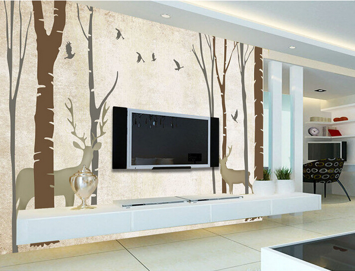 Custom vintage wallpaper, abstract woods elk bird murals for living room bedroom TV background wall waterproof papel de parede free shipping deconstruction blue bird bird personalized painting large murals mak wallpaper custom size