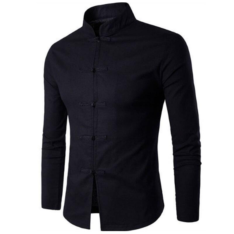 Tang Suit 2019 Fashion Casual Solid Mandarin Collar Long Sleeve Linen Shirt Men Slim Fit Social Dress Shirt White Black
