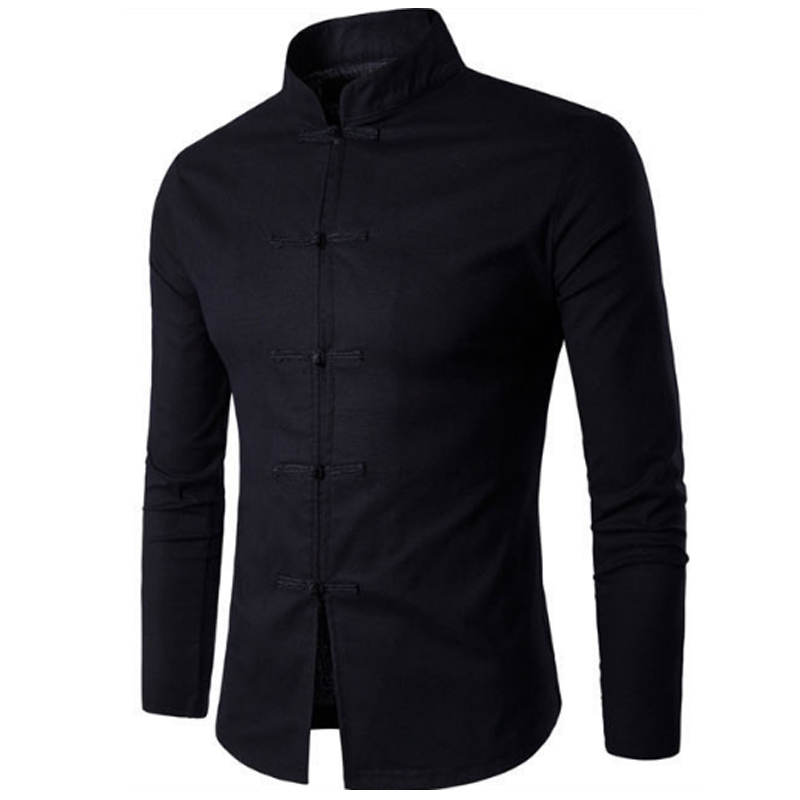 Tang Suit 2019 Fashion Casual Solid Mandarin Collar Long Sleeve Linen Shirt Men Slim Fit Social Dress Shirt White Black