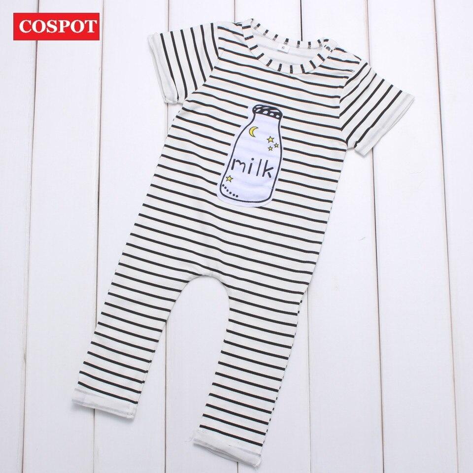8a5f388ce57 COSPOT Baby Boys Girls Striped Romper Newborn Cotton Jumpsuit Infant Summer  Milk Bottle Print Playsuit Kids