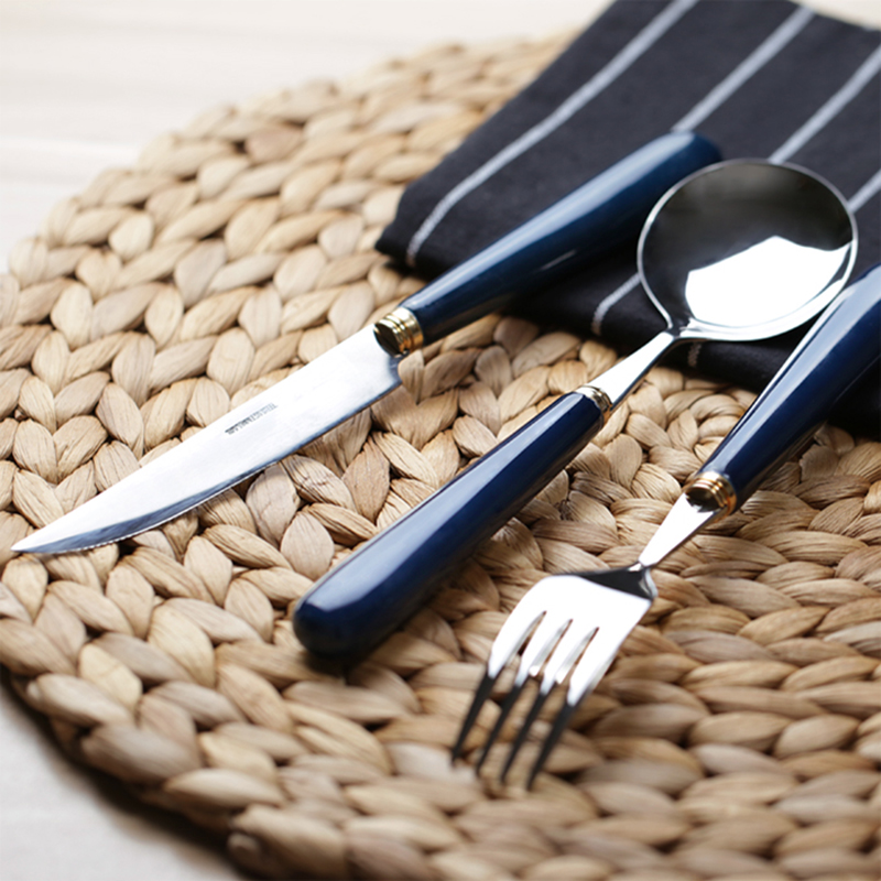 3pcs Cybil Stainless Steel Flatware Set With Shire Blue Ceramic Handle Knife Spoon Fork For Kitchen 20cm In Sets From Home Garden On